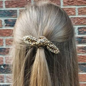Leopard Bow Ponytail Holder